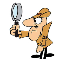 Clouseau holding magnifying glass
