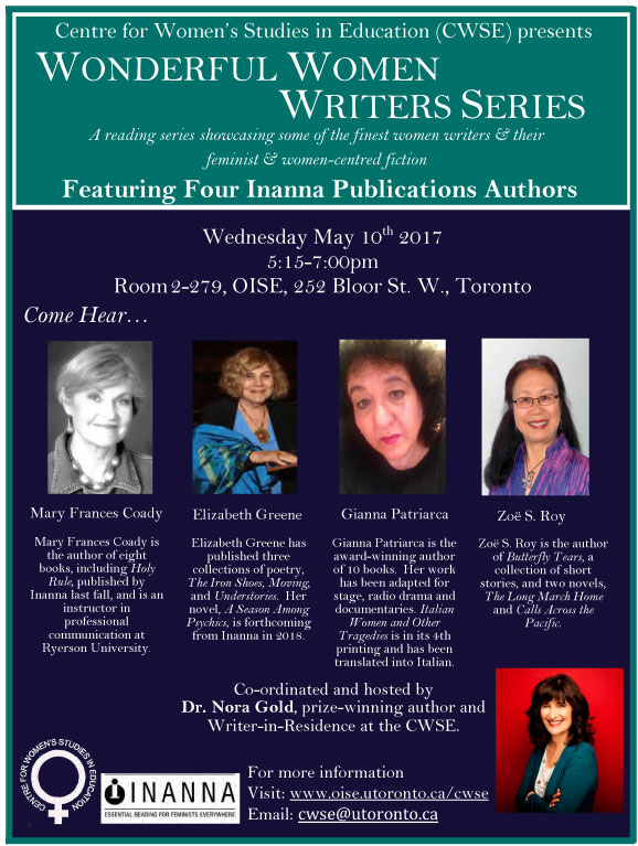Flyer for Wonderful Women Writers Series Event May 10, 2017
