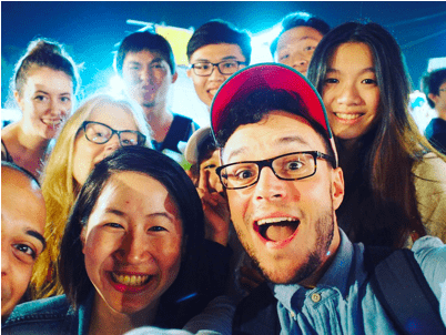 Andrew Kushnir with researchers and participants in Taiwan