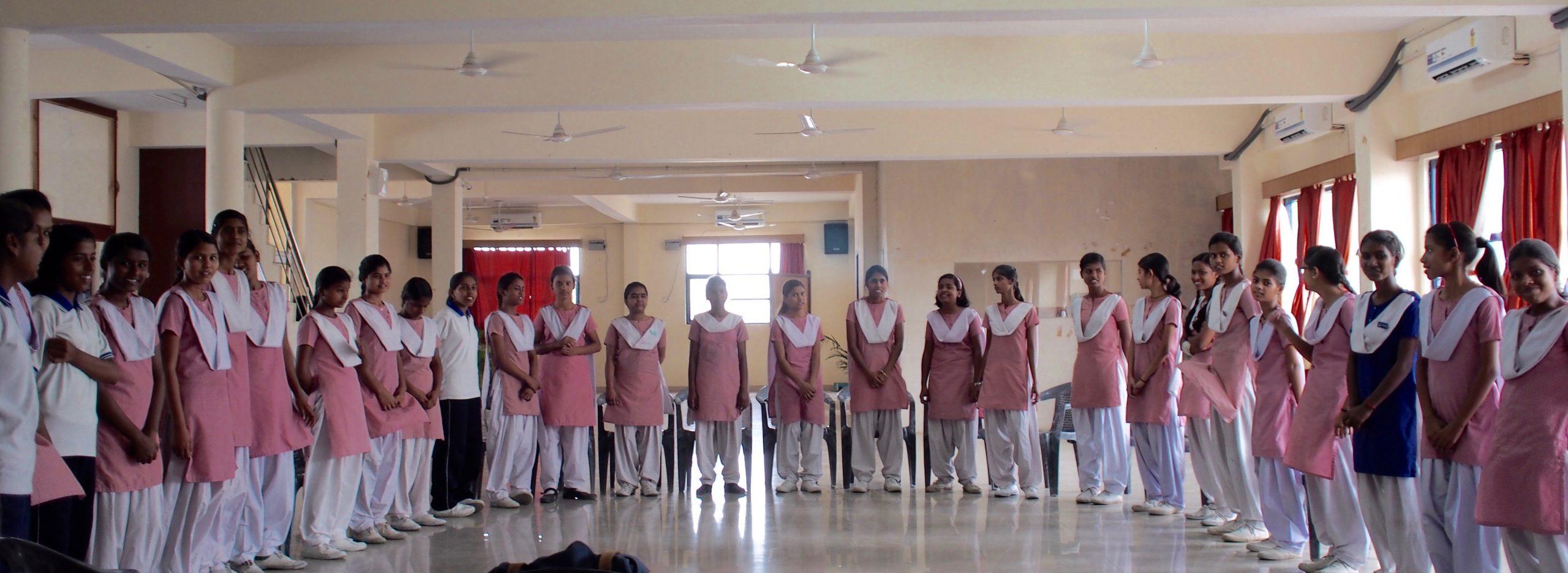 Girls in Prerna standing in a semi-circle