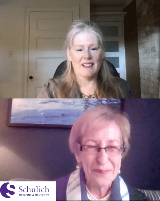 Screen shot of Dr. Kathleen Gallagher in conversation with Dr. Sandra Fisman