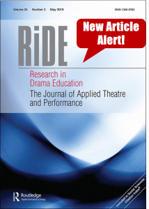 Cover of Research in Drama Education The Journal of Applied Theatre and Performance