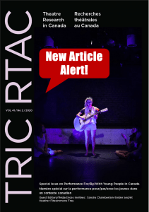 Cover of Theatre Research in Canada indicating a New Article linked