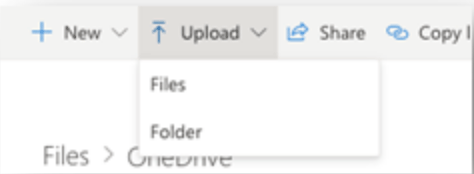 the menu of options for uploading your files to OneDrive