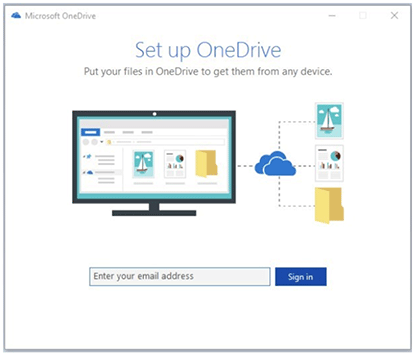 the screen seen by first-time users of the OneDrive app