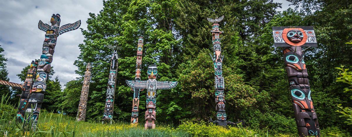 Totem poles in Stanley Park Vancouver, Canada
