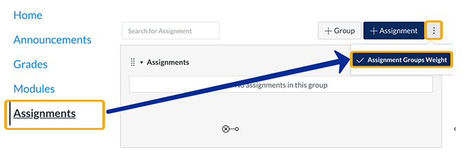 screenshot: creating assignment groups in the assignments tool
