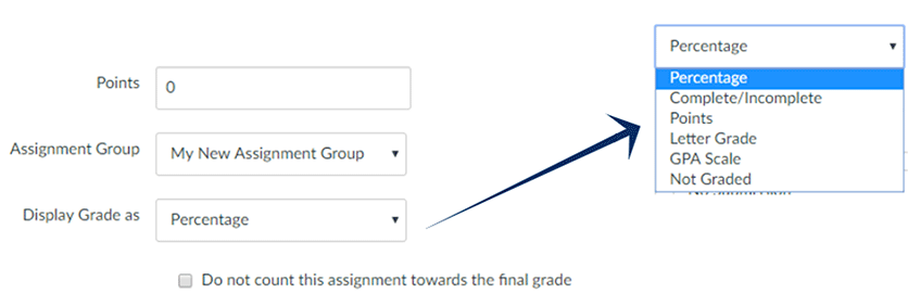 screenshot: The options for Points, Assignment Group, and Display Grade As
