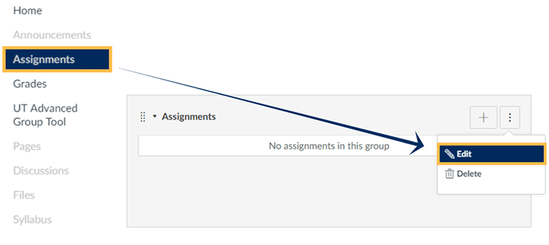 screenshot: The Edit button for the assignment group
