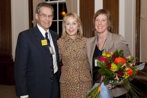 OISE Dean Julia O'Sullivan (centre) at Simcoe Hall reception with Dr. Eric Jackman and Ms. Martha McCain