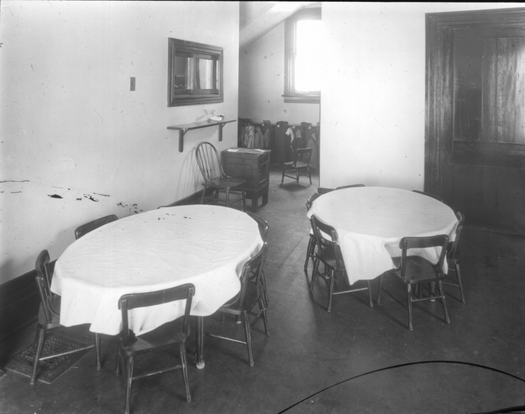 Tables where the children ate their lunch