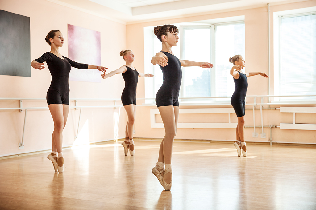 Group of young female ballet dancers