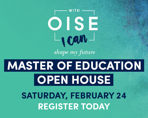 Looking to further your education? Come out to our Master of Education Open House on Saturday February 24, 2018 and learn about our professional graduate programs. Register today.
