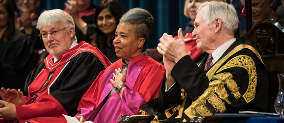 Dionne Brand receives hon doc from OISE