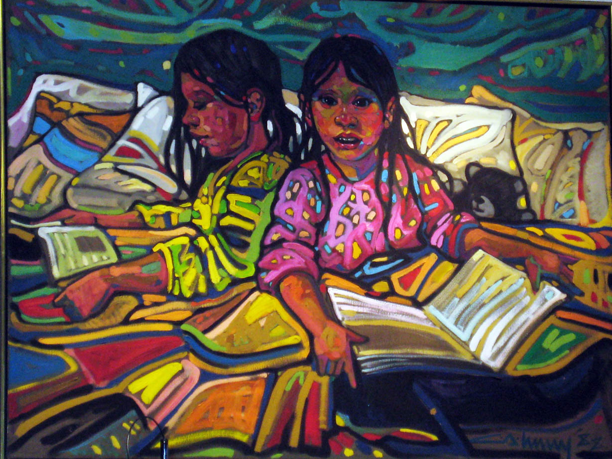 Painting of two girls with books